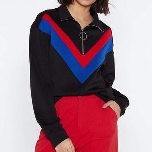 NWT Nasty Gal O-Ring Chevron Turtleneck Sweatshirt